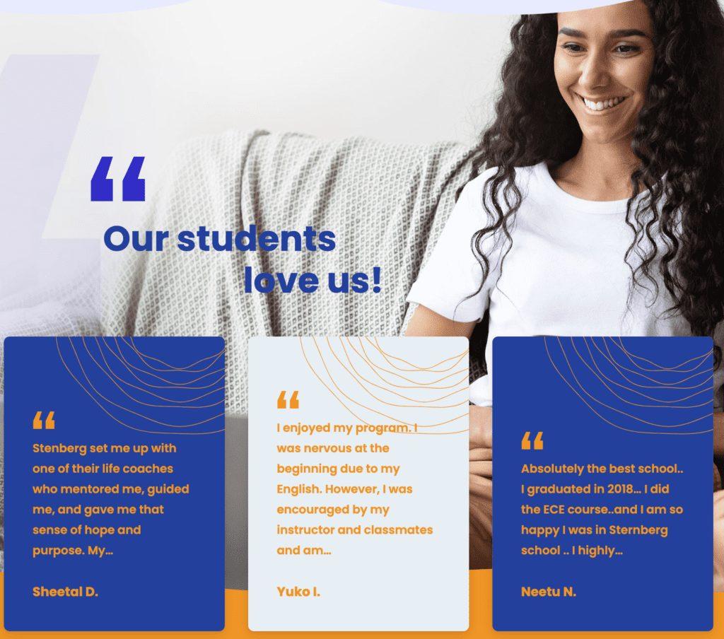 Stenberg College Student Testimonials
